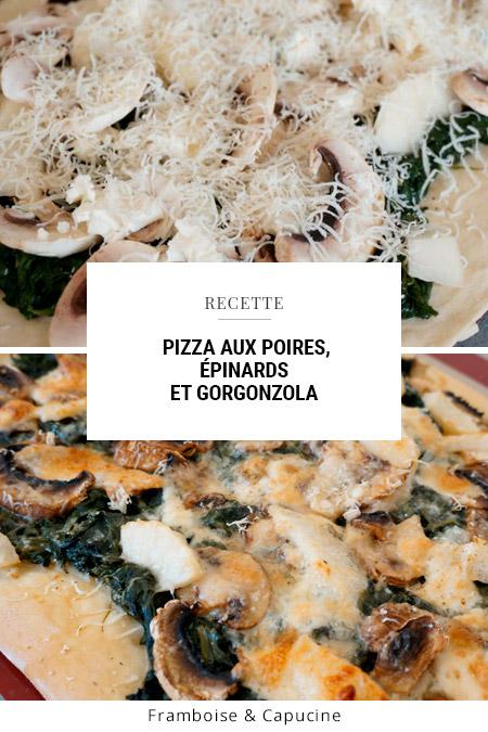 Pizza aux poires, épinards et gorgonzola