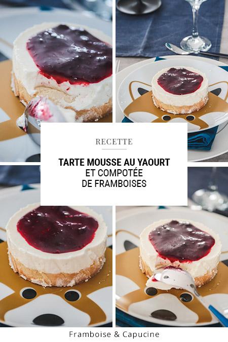 Tarte mousse yaourt framboises